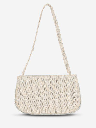 Weaving Straw Shoulder Bag - Milk White