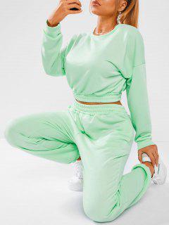 French Terry Drop Shoulder Jogger Sweatpants Set - Light Green S