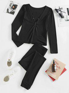 ZAFUL Button Front Ribbed Lounge Nightwear Two Piece Set - Black Xl
