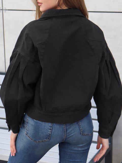 ZAFUL Flap Taschen Jeansjacke - Schwarz M Mobile