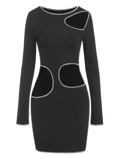 Zaful Overlock-Nähte Schneiden Sie Lange Ärmel Slinky Kleid aus - Schwarz XL Mobile