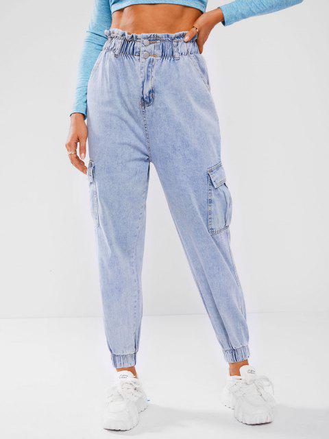 Papiertüte Taille Taschen Neunte Cargo Jeans - Blau S Mobile