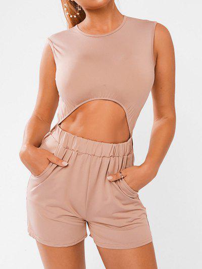 Cutout Sleeveless Jersey Romper - Light Pink S