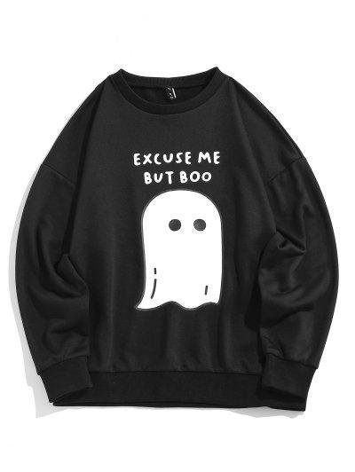 ZAFUL Halloween Ghost Druck Grafik Sweatshirt - Schwarz M