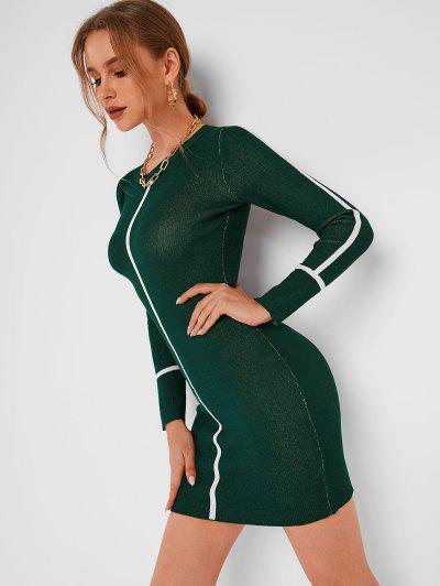 Crewneck Striped Detail Slinky Sweater Dress - Deep Green S