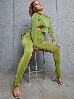 ZAFUL Plus Size Jersey Zip Up Split Hem Two Piece Pants Set - Green 2xl