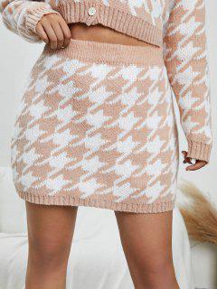ZAFUL Plus Size Houndstooth Knit Mini Skirt - Light Coffee 2xl