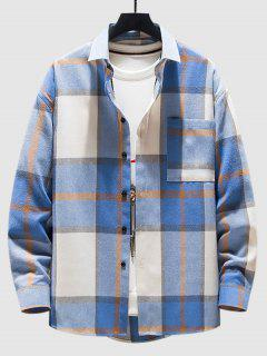 Camisa Manga Larga Estampado Cuadros - Azul L