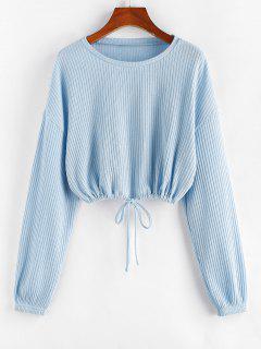 ZAFUL Drawstring Ribbed Crop Tee - Light Blue M