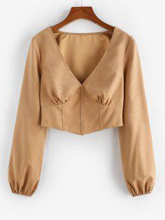 ZAFUL Cropped Ruched Corset-style Top - Light Coffee L