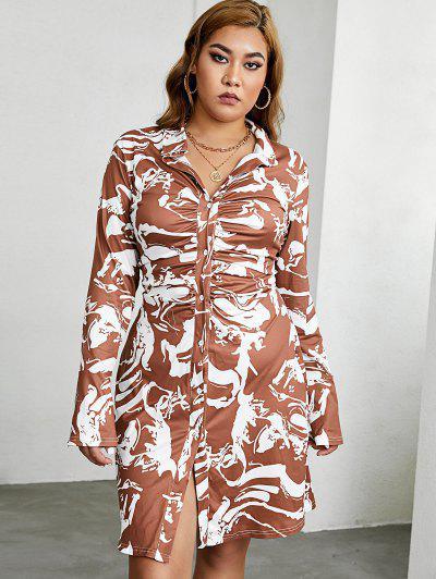 ZAFUL Robe Chemise Abstrait Imprimée Grande Taille à Volants - Café Profond 5xl