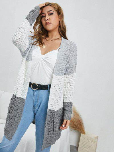 ZAFUL Plus Size Colorblock Chunky Open Cardigan - Multi L