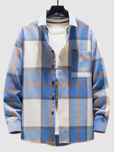 Check Pattern Long Sleeve Shirt - Blue L