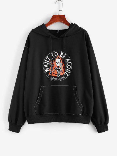 ZAFUL Flammen Schädel Skelett Halloween Hoodie - Schwarz L