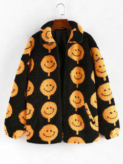 ZAFUL Abrigo Teddy De Estampado De Cara Sonriente - Negro Xl