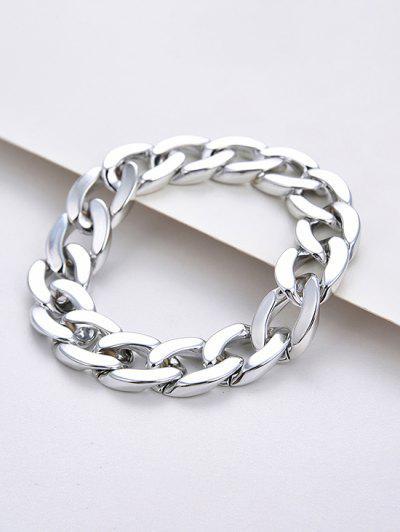 Freier Verstellbares Dicke Kettenarmband - Silber