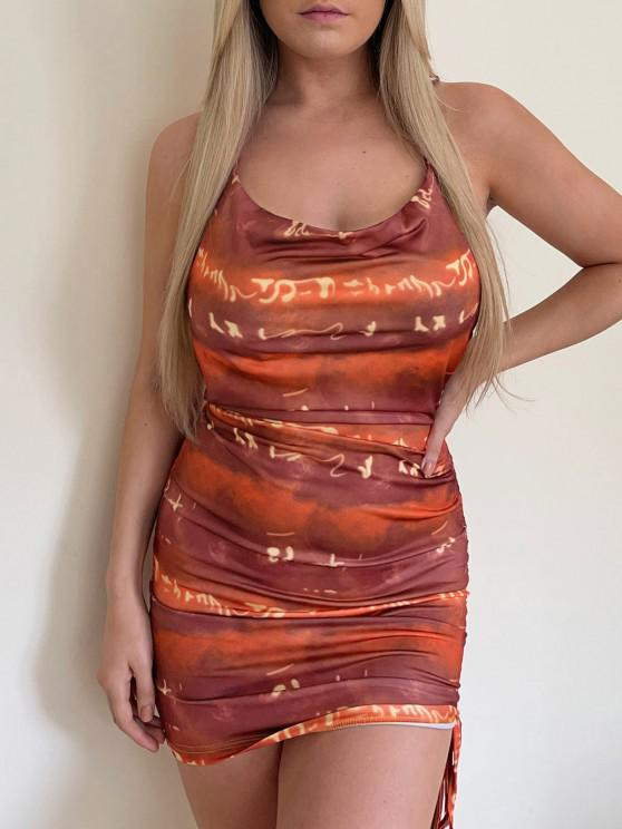 Vestido Espalda Descubierta Teñido Anudado - Naranja S