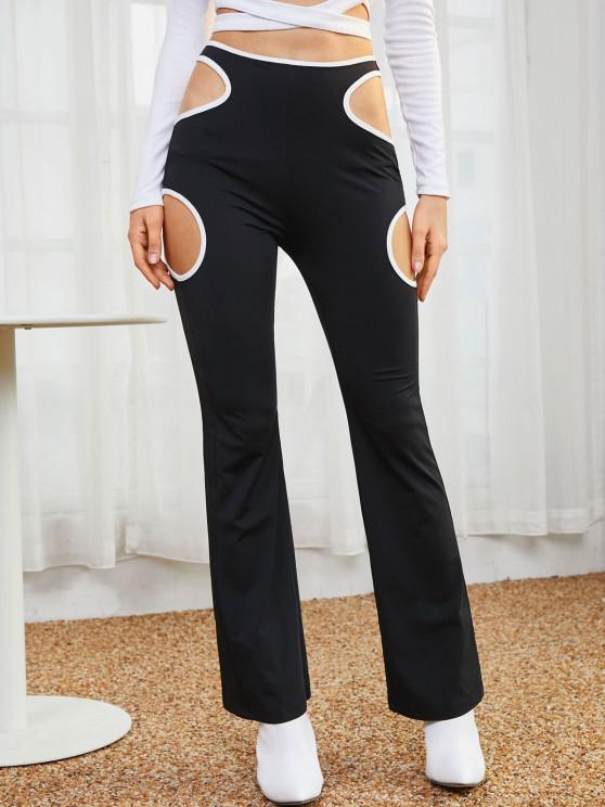 ZAFUL High Rise Contrast Piping Cutout Pants - أسود S