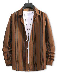 Balanced Stripe Long Sleeve Shirt - Brown Bear S