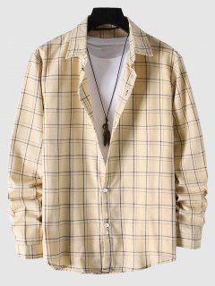 Long Sleeve Plaid Pattern Shirt - Beige Xl