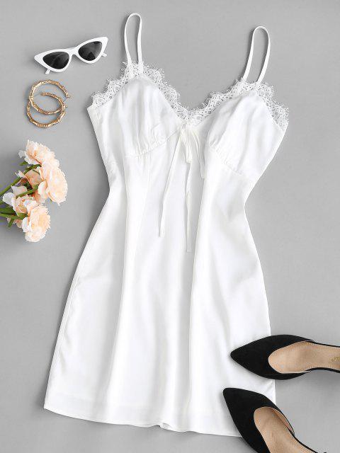 ZAFUL Satin Slip Kleid mit Spitzenbesatz - Weiß M Mobile