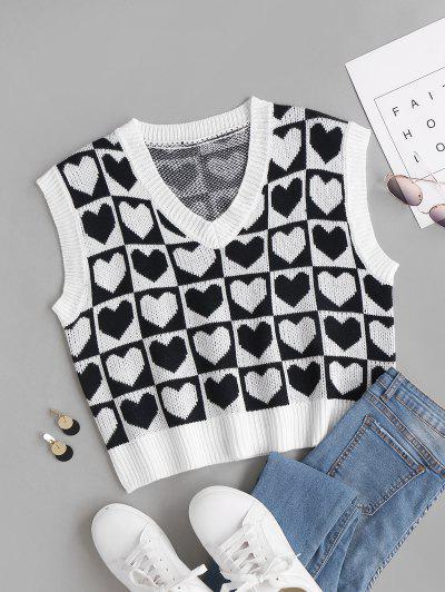 Karierter Herz Grafik Pullover Weste - Schwarz L