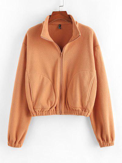ZAFUL Fleece Drop Shoulder Pocket Zip Jacket - Light Orange Xl