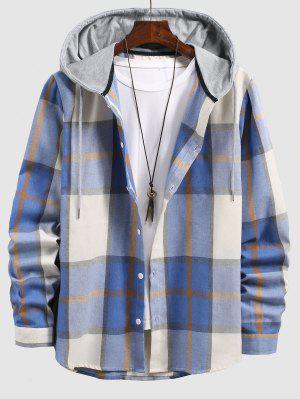 zaful Check Print Contrasting Hooded Shirt