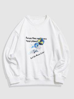 Cartoon Animal Earth  Letter Drop Shoulder Sweatshirt - White 4xl