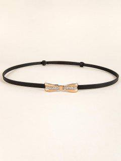 Bow Buckle Adjustable Skinny Belt - Black