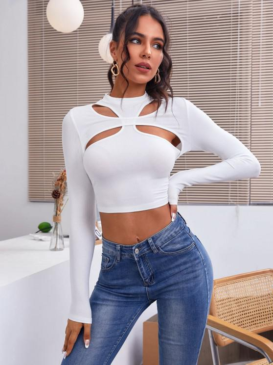 outfit ZAFUL Ribbed Cutout Long Sleeve Crop Tee - WHITE S