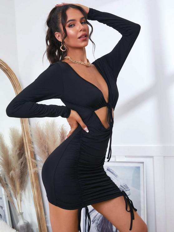 ZAFUL Bodycon Kleid mit Tiefem Ausschnitt und Rüschen - Schwarz S