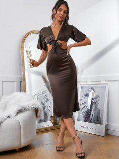 Cut Out Silky Tie Front Two Piece Dress - Coffee L