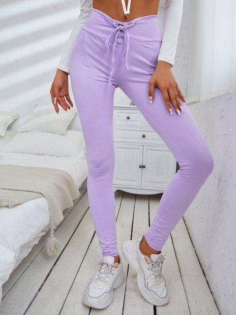 shop ZAFUL Solid Lace Up High Waisted Leggings - LIGHT PURPLE XL Mobile