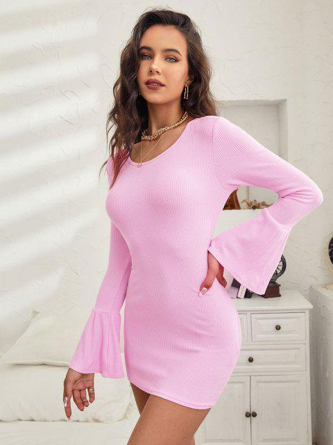 ZAFUL Gebundenes Geripptes Strick Kleid mit Offenem Rücken - Hell-Pink S Mobile
