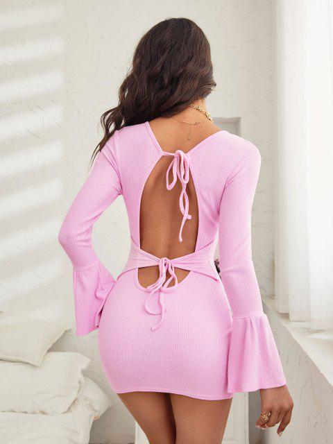 shops ZAFUL Tied Open Back Ribbed Knit Flare Sleeve Dress - LIGHT PINK XL Mobile