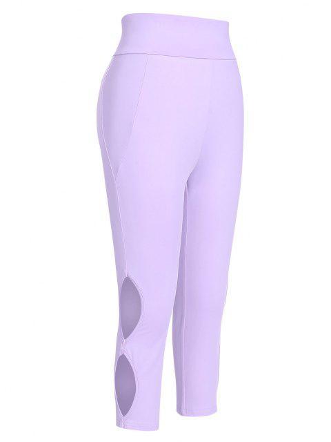 fashion ZAFUL Cutout Side High Waisted Capri Leggings - LIGHT PURPLE XL Mobile