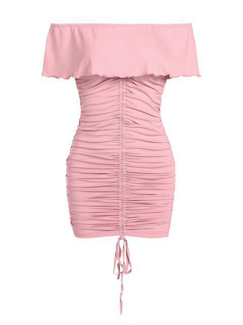 ZAFUL Schulterfreies Minikleid mit Rüschen - Hell-Pink S Mobile