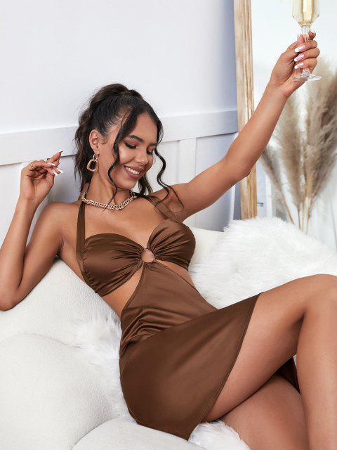 Satin Innerseide Spitze Gepolsterte Farbblcok PatchPet Brustgurte - Kaffee M Mobile