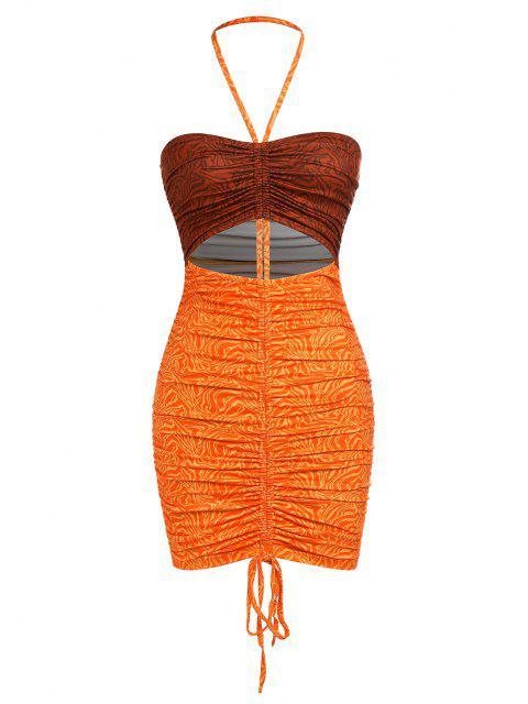 ZAFUL Neckholder Bodycon Kleid mit Zweifarbigem Ausschnitt - Orange S Mobile