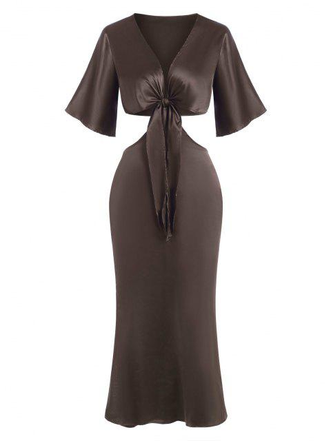 shops Cut Out Silky Tie Front Two Piece Dress - COFFEE L Mobile