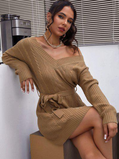 Belted Cable Knit Double V Sweater Dress - Coffee L