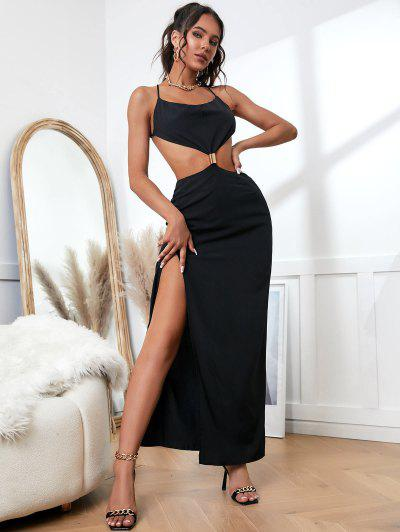 Ring Cowl Front Cut Out Thigh Slit Maxi Dress - Black S