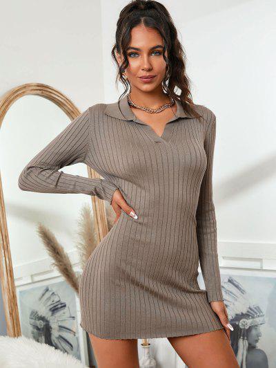 Collared Wide Rib Slinky Sweater Dress - Coffee S