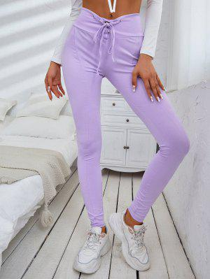 zaful ZAFUL Solid Lace Up High Waisted Leggings