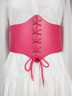Lace Up Elastic Corset Belt - Deep Pink