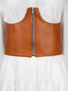 Zipper Elastic Corset Belt - Rust