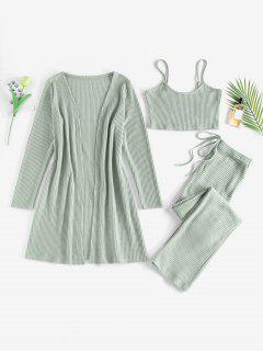ZAFUL Knitted Bowknot Straight Pants Set With Robe - Light Green Xl