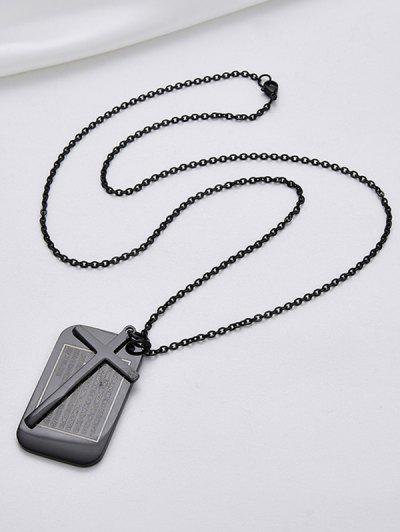 Stainless Steel Cross Bible Prayer Necklace - Black