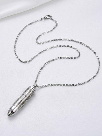 Bullet Cross Prayer Pattern Opening Necklace - Silver